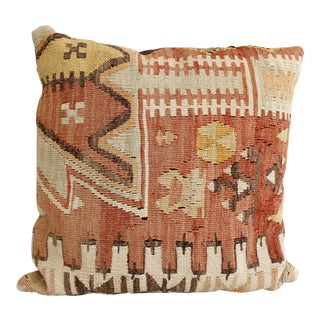 Vintage Turkish Kilim Pillow Multi Color Reds Brown Bohemian Mid Century