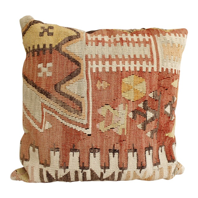 Vintage Turkish Kilim Pillow Multi Color Reds Brown Bohemian Mid Century - Image 1 of 5