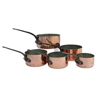 French Pro Mauviel Copper Pans - Set of 5