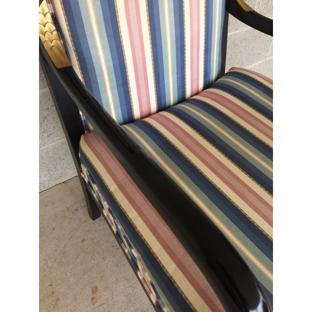 Ethan Allen Dolphin Federal Black/Gold Trim Upholstered Arm Chair - Image 6 of 10