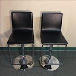 Image of Leather & Polished Steel Adjustable Bar Stools - a Pair