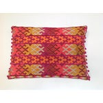 Image of Pulitzer Linen Ombré Silk Embroidered Aztec Pillow