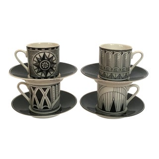 Deco-Style Espresso Cups & Saucers - Set of 4