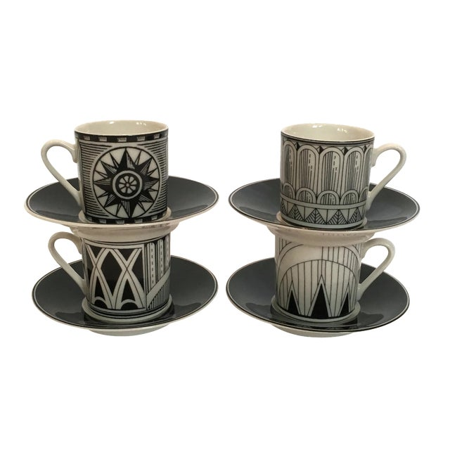 Image of Deco-Style Espresso Cups & Saucers - Set of 4