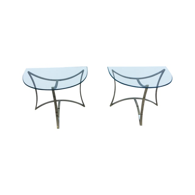 1970's Modern Demi Lune Brass Side Tables - Image 1 of 11