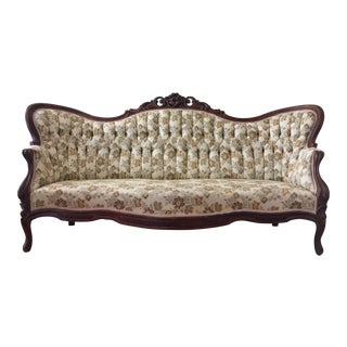 Antique Victorian Camelback Sofa