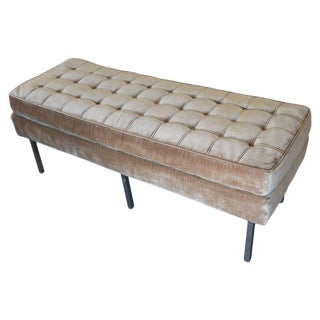 Tufted Velvet Bench Seating with Chrome Legs Attributed to Milo Baughman