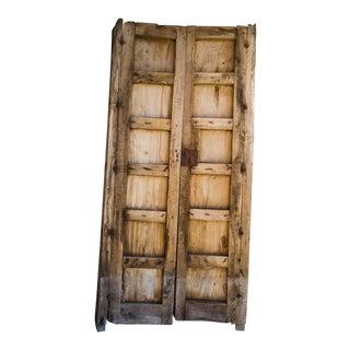 Antique Guadalajaran Exterior Swinging Mesquite Rustic Doors - A Pair