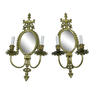Brass Framed Mirror Wall Sconces - A Pair