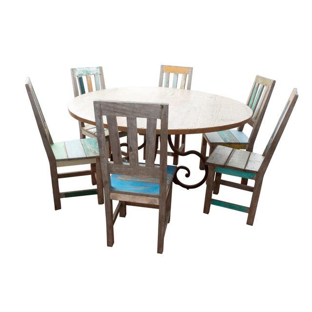 Wrought Iron & Pine Dining Set - Image 1 of 10