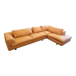 Roche Bobois Orange Leather Sectional Sofa