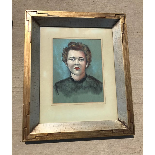 Vintage Female Portrait Chalk Drawing - Image 2 of 7