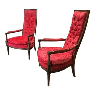 Vintage Red Tufted High Back Arm Chairs - A Pair