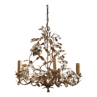 Vintage French Metal Chandelier with Scrolling Foliate Vinework