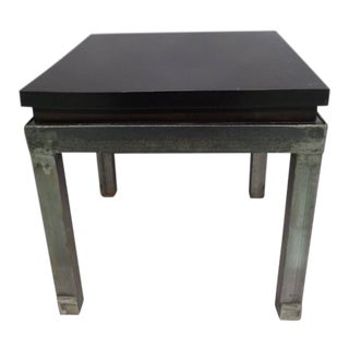 Pair of French 1930s Steel and Mahogany Benches or Side Tables