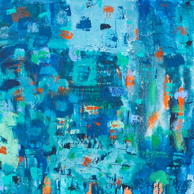 Large Blue & Coral Abstract - Image 3 of 6