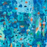 Image of Large Blue & Coral Abstract