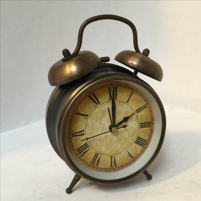 Antique Style Brushed Brass Alarm Clock - Image 6 of 9