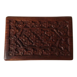 Vintage Indian Hand Carved Wood Box