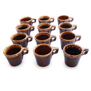 Hull Vintage Drip Glazed Coffee Mugs - Set of 12