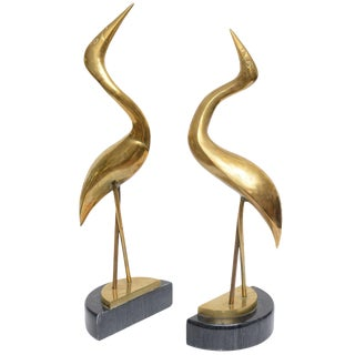Modernist Herons on Black Marble Bases, Pair