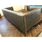 Image of Sunpan Viper Tufted Gray Leather Sofa