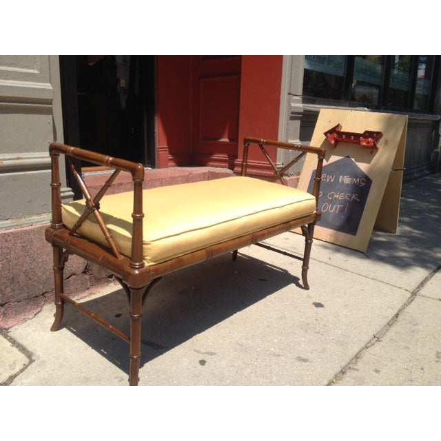 Vintage Faux Bamboo Chippendale Bench - Image 3 of 6