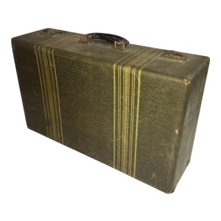 Vintage Green Striped Suitcase