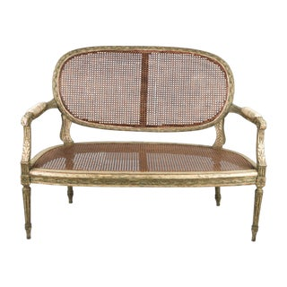 1800s Louis XVI Style Caned Settee