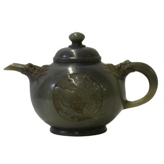 Chinese Jade Green Soap Stone Carved Teapot Display Art