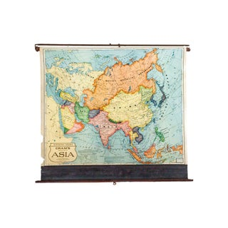 Vintage Cram's Pull Down Map of Asia