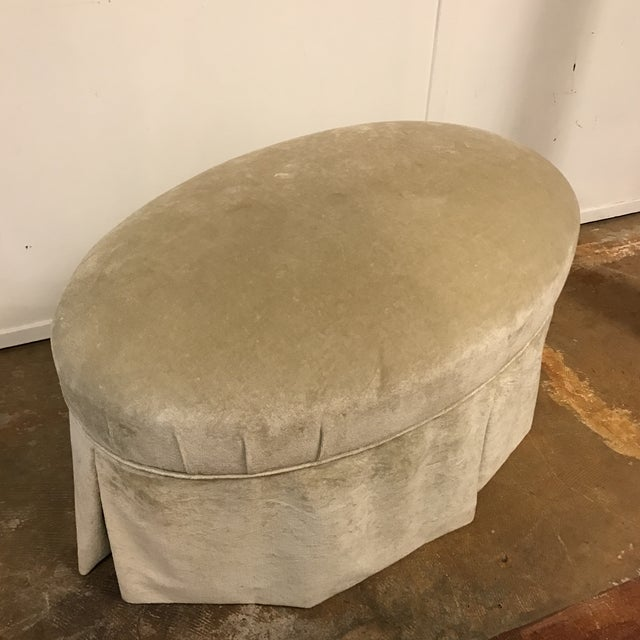 Contemporary Oval Upholstered Ottoman - Image 4 of 8