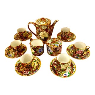 Mid-Century Chinoserie Gold & Floral Tea Service - Set of 17
