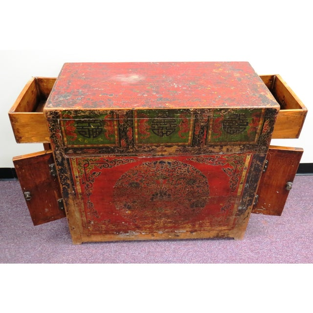 Antique Qing Dynasty Chinoiserie Lacquer Cabinets - Image 11 of 11