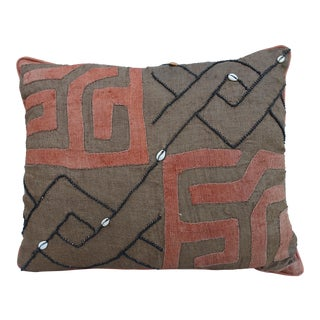 African Cloth Kuba Pillow with Shells