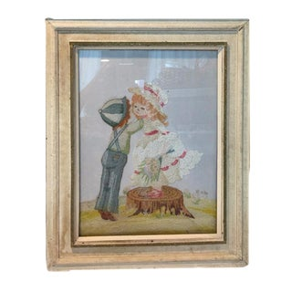 """Giving a Kiss"" Needlework Art"