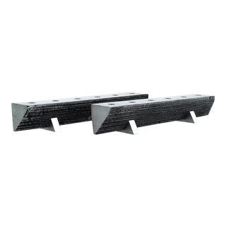 Solid Aluminum Brutalist Candelabras