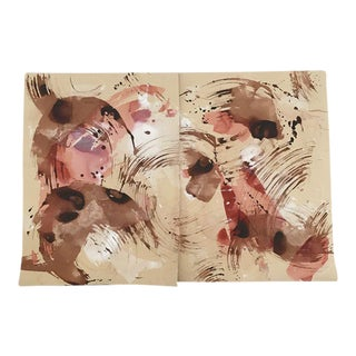 Kate Roebuck Blush One Diptych Watercolor Painting