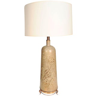 Decorative Ceramic Table Lamp on Brass Footed Base
