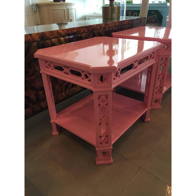 Chinoiserie Pink Lacquered Fretwork Side Tables - A Pair - Image 3 of 11
