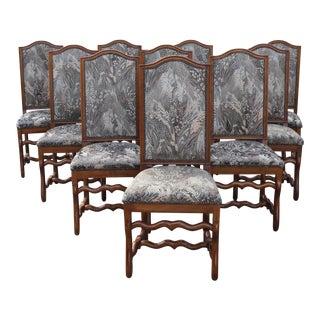 Louis XIII Style Solid Walnut Os De Mouton Dining Chairs - Set of 10