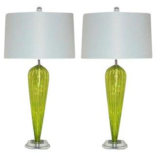 Joe Cariati Handblown Lamps Yellow Green