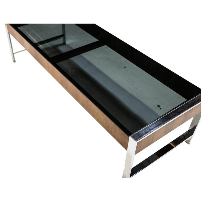 Cb2 Mid Century Coffee Table: Mid Century Chrome Smoked Glass Coffee Table Milo Baughman