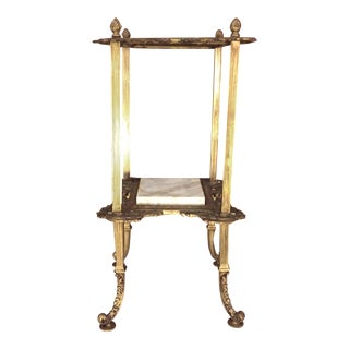 Antique Victorian Marble & Brass Tiered Table