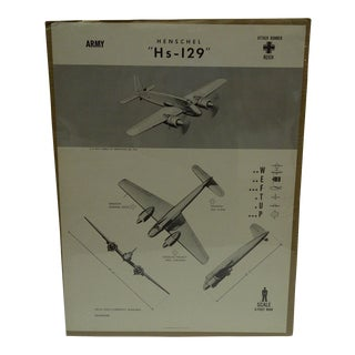 "Vintage WWII Aircraft ""Hensche HS-129"" Recognition Poster"