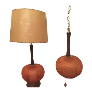 Mid Century Spun Fiberglass Lamp and Swag Light