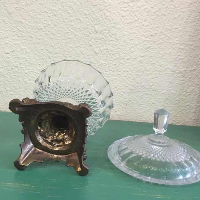 Antique Cut Glass and Bronze Candy Dish - Image 6 of 6