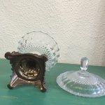 Image of Antique Cut Glass and Bronze Candy Dish