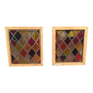 Colorful Stained Glass Windows - A Pair
