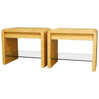 Steve Chase Style Grasscloth Waterfall Nightstands - A Pair